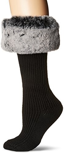Ugg Boots Socks (UGG Women's Faux Fur Cuff Tall Rainboot Sock, Charcoal, O/S)