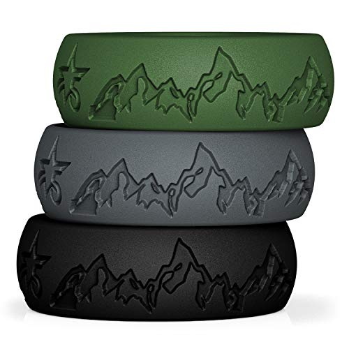 Rubber Wedding Band Practical and Beautiful Mountains Design Inspired by Nature Comes in a Gift Box 8 or 6 mm Wide 5starzz Premium Quality Fashion Silicone Wedding Ring for Men and Women