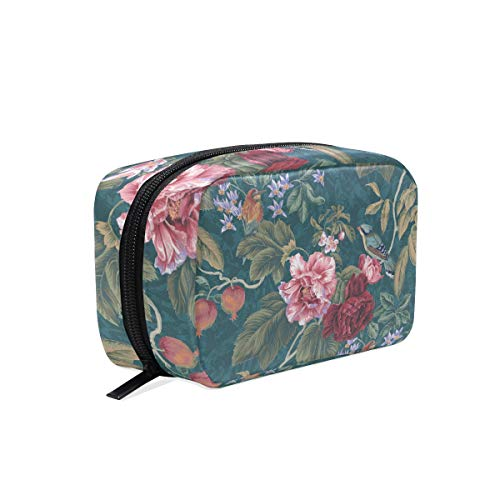 LORVIES Tree Of Life Birds Floral Cosmetic Pouch Clutch Makeup Bag Travel Organizer Case Toiletry Pouch for Women