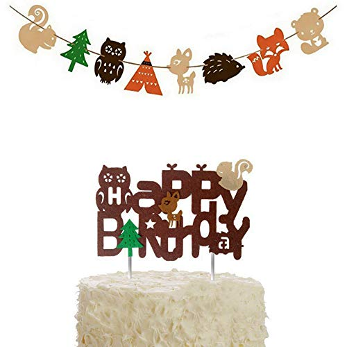 BUSOHA Happy Birthday Forest Animal Decoration - Woodland Creatures Theme Cake Topper and Banner Forest Animal Friends for Birthday Wedding Party Baby Shower Décor. -