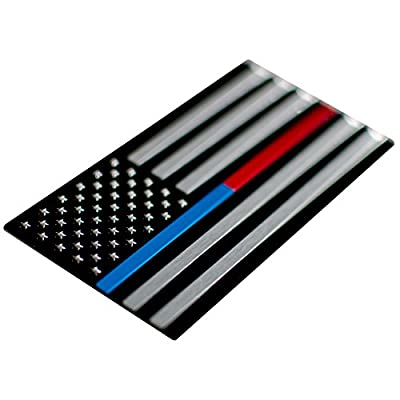 Aluminum Thin Blue/Red Line Decal Sticker Emblem | In Support of Police Officers and Firefighters: Automotive