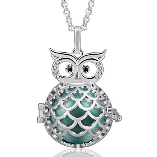 (EUDORA Harmony Ball Wise Owl 20mm Pendant Serenity Prayer Long Pregnancy Necklace, 45