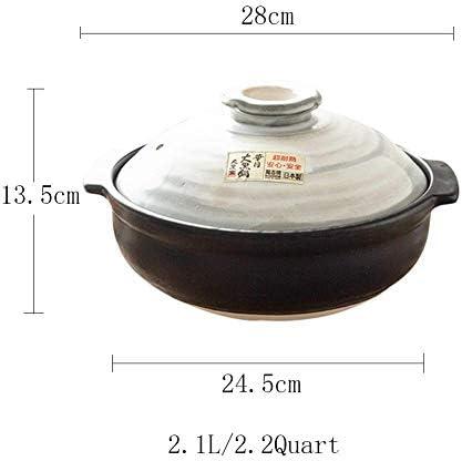L.TSN Casserole en céramique Japonaise Faite à la Main avec Couvercle cuiseur à Riz en Pierre Pot résistant à la Chaleur Pot en Argile Donabe Dolsot Pot Noir 2.1quart