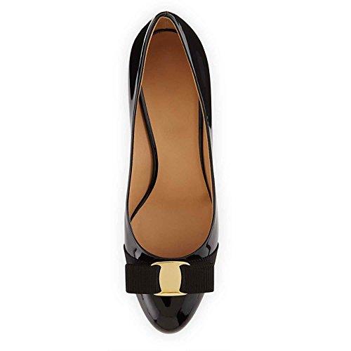 Arc-en-Ciel zapatos de las mujeres del talón bajo de charol bombas de dedo del pie redondo Negro