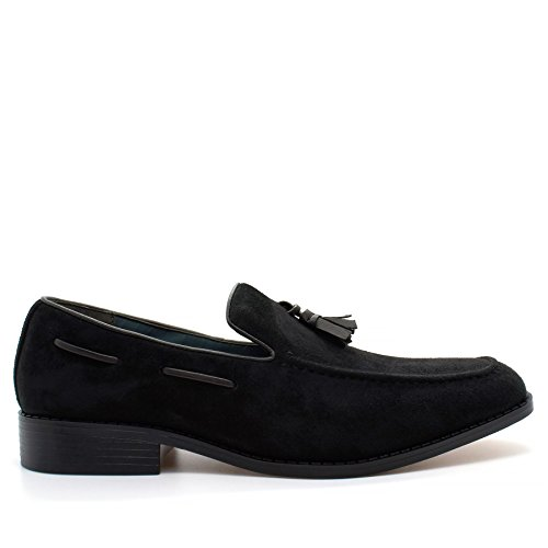 11 Tassel Size Slip Leather Shoes Loafers Suede Faux Black New Smart Mens On 6 Driving fxw5RqnO