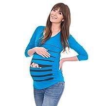 Peaberry Women's Peek a Boo Baby Maternity Shirt, Blue L