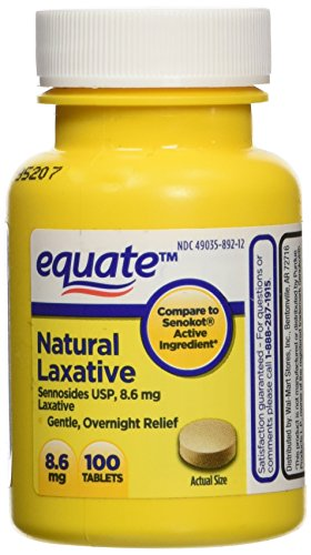 Equate Natural Vegetable Laxative, Sennosides 8.6 mg Tablets, 100-Count Bottle