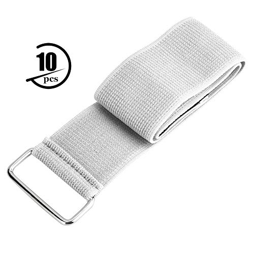 10pcs 3 Legged Race Bands Party Games Straps Two People Three Legged Race Band Strap Outdoor Team Game Elastic Band for Backyard Game (Whitey)