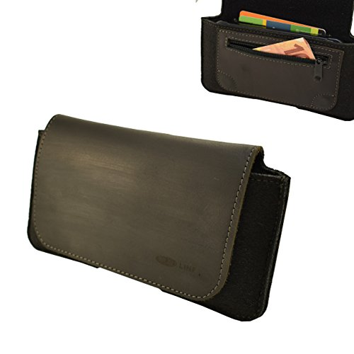 OrLine Holster Echt Leder-Schutzhülle Apple Iphone 7 4,7 Zoll Lederetui Hülle Handytasche Leder Case Cover mit Magnetverschluss Halterung an Gürtelschlaufe in der Farbe schwarz Handarbeit.