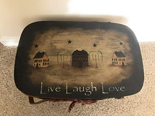 Primitive Live Love Laugh Hand Painted Distressed Large Basket Willow - Saltbox Willow