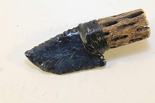 German Seiber Agate (GERMANY 1400 Yrs. Old) Copper Slag Glass Flint Knapping/Knapped Using Pressure Flake Techniques Hafted On Cholla Cactus w/Imitation Sinew Neck Knife (Agate Lapidary Display)