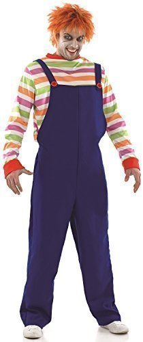 Mens Evil Dummy Dead Zombie Doll Halloween Fancy Dress Costume Outfit M-XL (Medium) Blue -