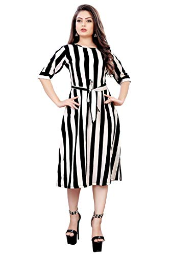 AA Creation Women's Fit and flare Knee Length Dress (Black & White_XX-Large)