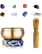 Joyeee 3.15'' Tibetan Singing Bowl Set with Chakra Stones for Mindfulness #1