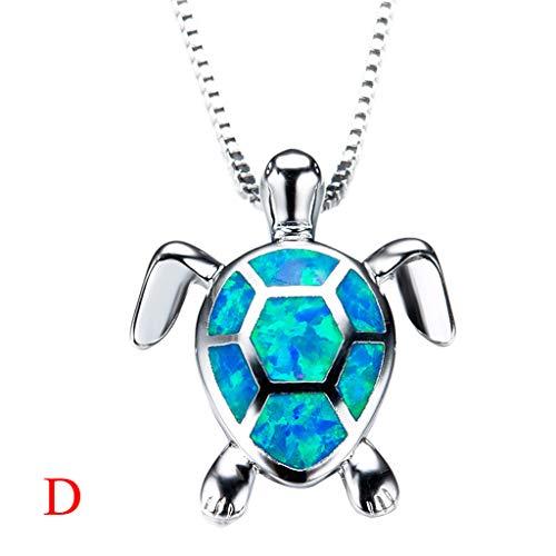 ( Orcbee  _Women Charm Cute Sweater Necklace Opal Turtle Pendant Jewelry Ornament (D))