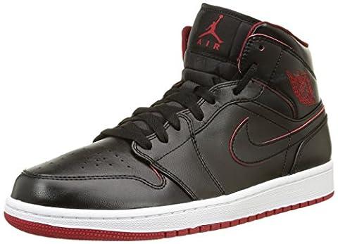 Nike Men's Air Jordan 1 Mid Black/Black/White/Gym Red Basketball Shoe