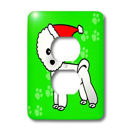 3dRose lsp_13818_6 Cute Bichon Frise Green Paw Background with Santa Hat 2 Plug Outlet Cover