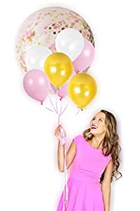 "36 Inches Rainbow Confetti Balloons with Matching 12"" Assorted Latex Balloon for Parties, Graduation, Photographs and More (Combo 6, 4 Confetti Balloons Set)"