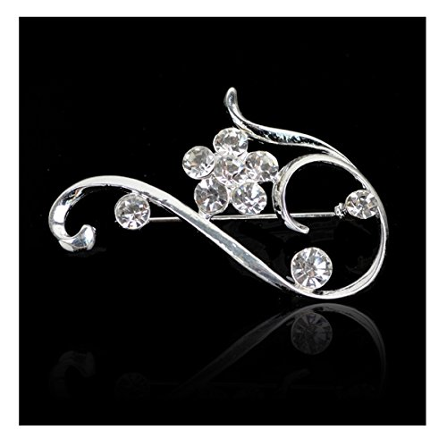 Elegant Blossom Plum Flower Crystal Brooch Pin (Yellow 9k Brooch)