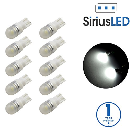 SiriusLED 5050 SMD Pack of 10 LED Interior Dome Map Lights White 6000K 194 T10 168