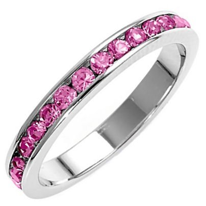 Sasha: 0.96ct Pink Sapphire Russian Ice CZ Stackable Eternity Band Ring, 3294A sz 9.0, 925 Silver - Pink Sapphire Stackable Ring
