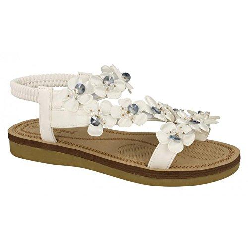Synthetic Silver Trim Sandals Savannah Ladies Flower Strap Womens qfgaAw0
