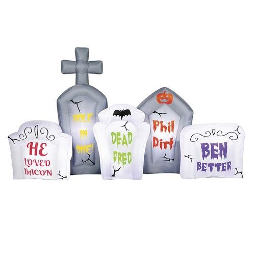 8' Long Airblown Flashing Lights Tombstone Scene Halloween Inflatable ()