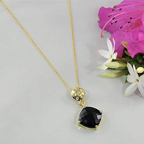 SIVALYA Black Onyx Pendant Necklace in 925 Sterling Silver with Gold Vermeil - Luxurious Gift Packaging Included ()