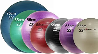 Isokinetics Inc. Brand Exercise Ball - Anti-Burst - 3 Sizes - Choice of Color - For Fitness, Therapy, Sports Training, Yoga and More from Isokinetics Inc.