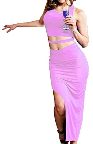 Womens Bodycon Dress Slit Bandage Cromoncent 2 Crop Tops Irregular Purple and pcs Odnqg