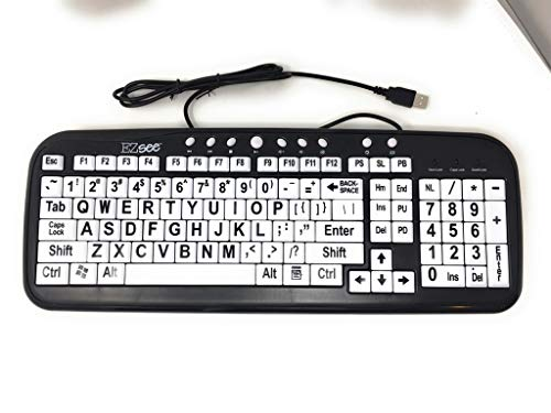 EZ See Large Print Keyboard-White Keys-Black Print ()