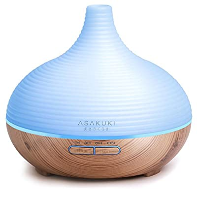2017 ASAKUKI 300ML Premium, Essential Oil Diffuser, Quiet 5-In-1 Air Purifier, Humidifier, Natural Home Fragrance Diffuser with 7 LED Color Changing Light and Easy to Clean by ASAKUKI