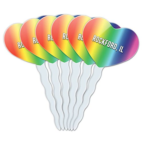 Rainbow Heart Love Set of 6 Cupcake Picks Toppers Decoration City State Oa-Ro - Rockford (Party City Rockford)