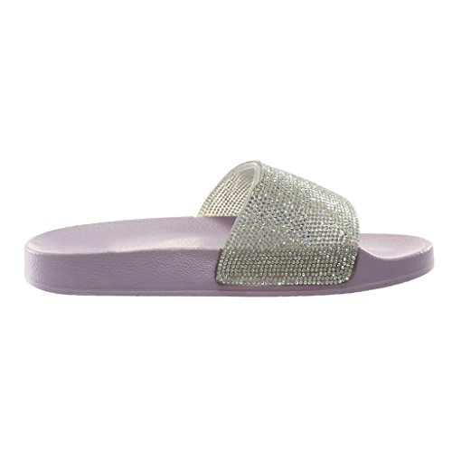 Angkorly Damen Schuhe Mule Sandalen - Slip-On - Step - Flexible - Strass - Pastell - Glänzende Flache Ferse 2 cm Lila