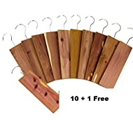"""11 Pack Moth Protection Cedar Hang Up Closet Light Cedar Aroma Protection Large Size (9"""" x 2.6"""" x .4"""" Inches)"""