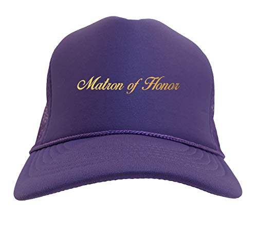 Gold Foil Matron of Honor - Bridal Solid Trucker Hat (Purple)