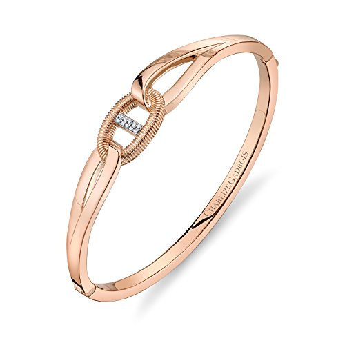 CHARLIZE GADBOIS 925 Sterling Silver Natural Diamond Center Buckle Cuff Bangle Bracelet (0.05 cttw, I1-I2 clarity), 18K Rose Gold Plated (Diamond Buckle Bangle)