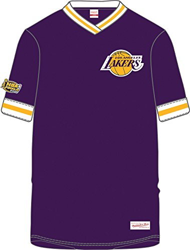 Los Angeles Lakers NBA Men's Overtime Win Vintage V-Neck T-Shirt Jersey (Large)
