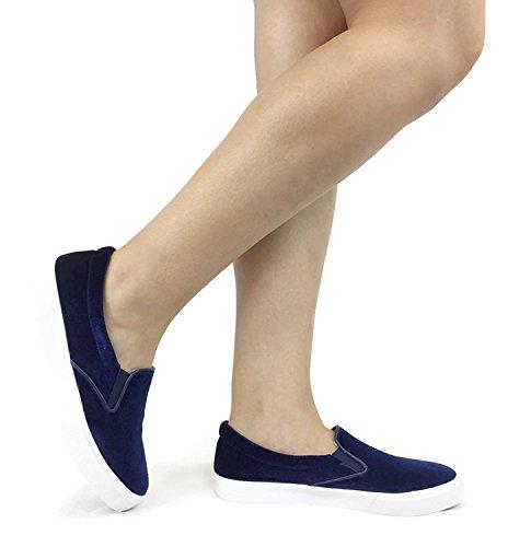 Soda IF13 Frauen Classic Elastic Panel Slip auf genähte Mode Sneaker Marine