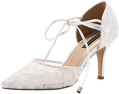 ERIJUNOR Womens E2374 Lace Wedding Shoes Ivory Size: 5