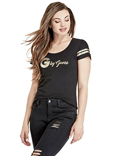 G by GUESS Sera Short-Sleeve Jeweled Logo - Womens Logo Tee S/s