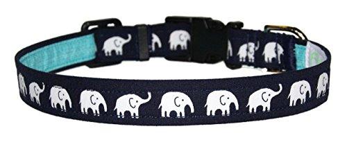 Elephants Dog Collar - Navy Blue & Aqua - 100% Cotton - Size Medium Adjusts 12 to 17 Inches - 3/4 Inch Wide
