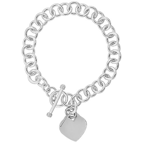 Sterling Silver Round Link Rolo w/ Heart Tag Bracelet Handmade, 8 inch long