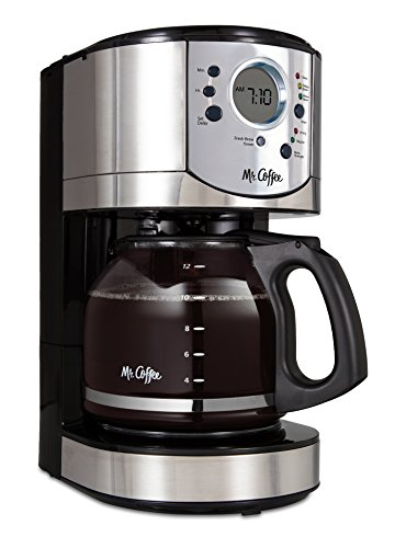 Mr. Coffee 12-Cup Programmable Coffee Maker with Brew Strength Selector - - Maker Chrome Coffee Brushed