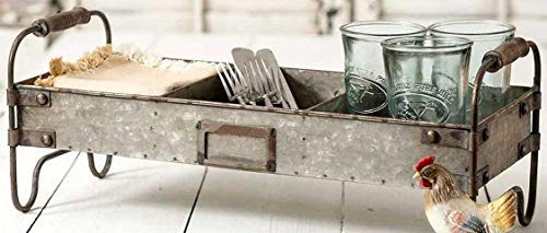 Colonial Tin Works Galvanized Steel Industrial Divided Tray with Stand,grey by Colonial Tin Works