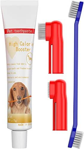 Dog Toothpaste and Toothbrush Set [REMOVES FOOD DEBRIS] Double Sided with Long Curved Handle [SUPER EASY CLEANING] - Best Soft Silicone Pet Toothbrush for Cats And Dogs [EXPANDABLE FINGER ENTRY] - Sma