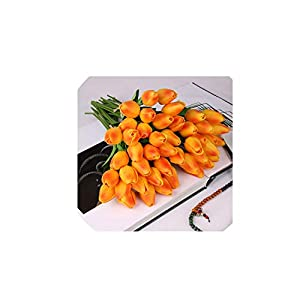 10 Pcs Beauty Real Touch Flowers Latex Tulips Flower Artificial Bouquet Fake Flower Bridal Bouquet Decorate Flowers for Wedding,G 23