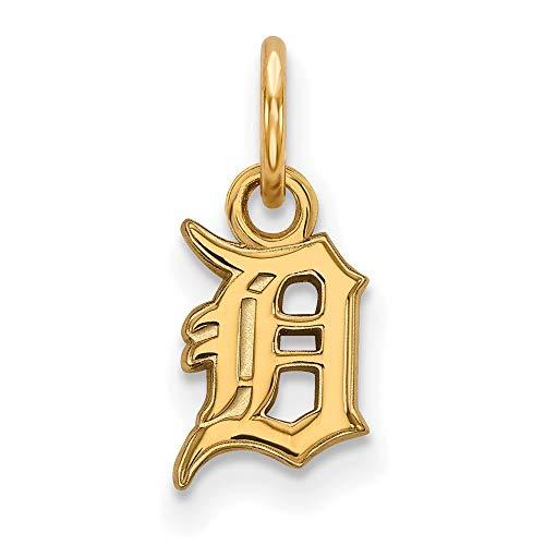 Q Gold MLB Detroit Tigers 10ky MLB LogoArt Detroit Tigers XS Pendant Size One ()