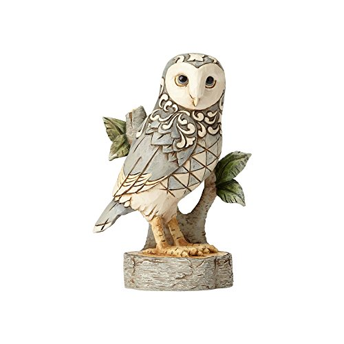 Figurine Owl Bird - Enesco Jim Shore Heartwood Creek White Woodland Owl On Branch Stone Resin Figurine, 4.49