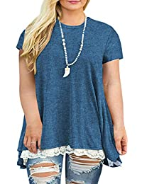 b3309b389c9 Womens Plus Size XL-4XL Lace Short Sleeve A-Line Tunics Top Blouse Shirt